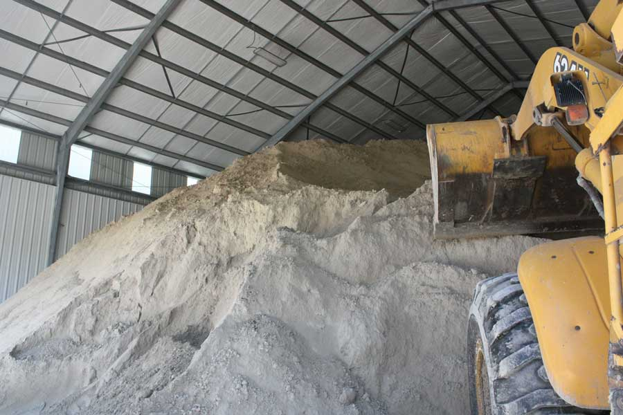 Gypsum stored inside