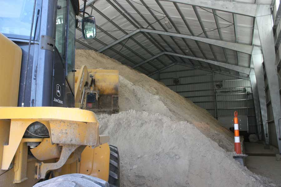 Gypsum stored in covered Barn